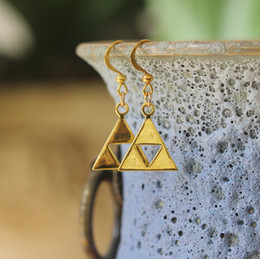Wholesale Opal Jewelry Wholesalers - silver Triforce Zelda earrings The Legend of Zelda inspired jewelry Triangle earrings Metal Pendant gift C366E