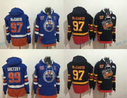 Wholesale Cheap Ripped Sweaters - Cheap Hockey Hoodie Edmonton Oilers #97 Connor McDavid #99 Wayne Gretzky Hoodie High Quality Stiched Sweater Jersey Free Shipping