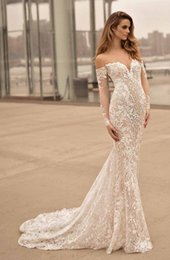 Wholesale Flower Embellishments - long sleeves off the shoulder wedding dresses 2017 berta bridal sweetheart neckline full embellishment elegant sexy open low back