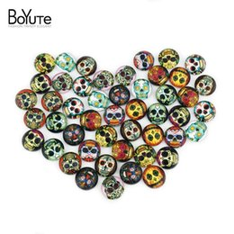 Wholesale Skull Cabochons - BoYuTe (48 pieces lot) 12mm Round Cabochons Mix Skull Cartoon Butterfly Sign Image Transparent Glass Cabochon Jewelry Findings xl3649