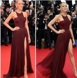 Wholesale Dress Gossip Girl Short - Gossip Girl Blake Lively Sexy Chiffon Celebrity Red Carpet Dress Burgundy Gown Split By Frida Gianni Celebrity prom Dresses 2017