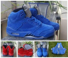 Wholesale Retro Reflective - 2017 New Air Retro 5 V Raging Bull Red Suede Blue Reflective Men Basketball Shoes Top Quality Retros 5s Sports Sneakers Size 36-47