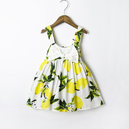 Wholesale cotton party dresses for toddlers - Summer girls dress Baby Girl Birthday Party Printed lemon Sling Dress for Newborn and Toddler Beach Sundress