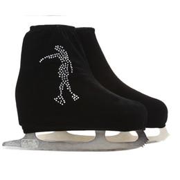 Wholesale Velvet Accessories - Wholesale- 24 Colors Child Adult Velvet Ice Skating Figure Skating Shoes Cover Roller Skate Fabric Accessories White Skater 3 Rhinestone