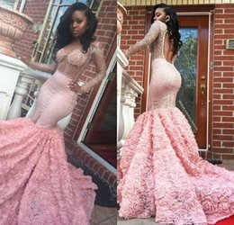 Wholesale Dresses East - Luxury African Arabic Mermaid Long Sleeves Middle East 2017 Prom Dresses for Black Girls Sexy Sheer Beading Prom Gowns Custom Made Festa