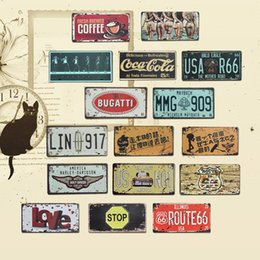 Wholesale Home Pubs - 35 Design License Plate Cars Drink Coffee Iron Paintings Retro Metal Paintings Decor Wall Of Bar Cafe Pub Shop Restaurant 15.5*30.5cm