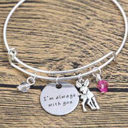 Wholesale Deer Bangle Bracelet - 12pcs Baby Deer Fawn Bracelet I'm Always With You Deer Father Daughter Mother Daughter bangles Crystals