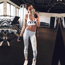 Wholesale Stripe Tights Ladies - Hot ladies yoga tights new black and white stripes printed fitness Sport leggings soft leggings wholesale fashion legging thin legs2302#