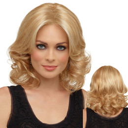Wholesale Ponytail Hair Extension Blonde - Women Short Wig Blonde Curly Wave Synthetic Wigs Highlighted Kanekalon Fiber For Black Women With Cap Peruca Peluca Afro Wigs