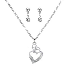 Wholesale Korean Style Wedding Clothes - Lover Heart-shaped Rhinestone Crystal Necklace And Earring The Clothing Accessories Fashion Wedding Jewelry Sets Korean Style Gift For Women