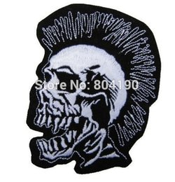 Wholesale Rock Band Jacket Patches - MOHICAN SKULL Biker Vest Music Band Iron On On Patch Tshirt TRANSFER MOTIF APPLIQUE Rock Punk Badge Jacket Shirt Pants Hats