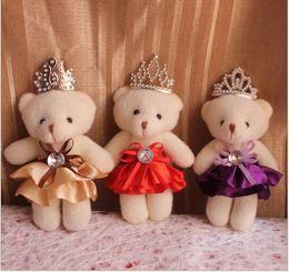Wholesale Toy Bear Promotional Gift - Wholesale- Lovely Mini Bear Soft Plush Toy Phone Charm Stuffed Small Toy Promotional Gift Opp Cotton Bear Doll For 12cm 12pcs lot