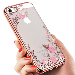 Wholesale Secret Case Iphone - Luxury Flora Diamond Bling Soft TPU Clear Phone Back Cover Secret Garden Flowers Case For Iphone 5 6s 6 plus 7 7 plus Samsung 6 6 edge 7
