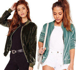 Wholesale women s silk velvet jackets - Women Short Jackets 2016 Winter New Zipper Coat Ladies Fashion Silk Velvet Jacket Black Blue Long Sleeve Outerwear SF11-5