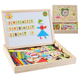 Wholesale Kids Writing Toys - Baby Toy Multifunctional Magnetic Jigsaw Puzzle Wooden Double Sides Writing Drawing Board kids Fancy Toys Wood Multifunctional Learning Box