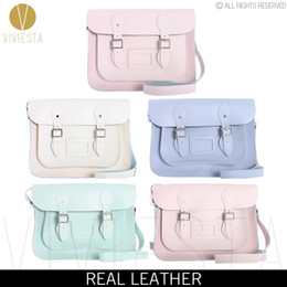 "Wholesale Pastel Bags - Wholesale- 13"" PASTEL BRITISH GENUINE LEATHER SATCHEL BAG - Women 2016 Patone Color Candy Baby Color School Crossbody Messenger Bag Handbag"