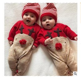 Wholesale Baby Boy Winter Overalls - Baby Clothes Christmas Rompers Elk Overalls Hat Long Sleeves Newborn Infant Girls Boys Clothes With Hat Party Gift Free Shipping