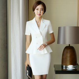 Wholesale Womens White Suit Shorts - Fashion Women Suits with Overskirt Professional Womens Slim Formal suits Ruffle Work Skirt S M L XL XXL 3XL 4XL Plus Sizes DK820F