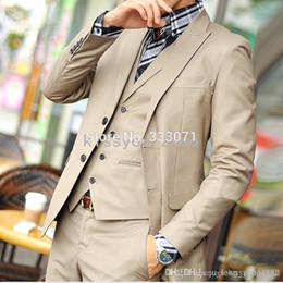 Wholesale tailored made dress pants - Wholesale- Custom made tailor 2015 Hot khaki Groom Suits Tuxedos Slim fit Best man Groomsman Men party Wedding Dress Jacket+Pant +vest