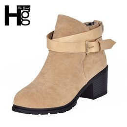 Wholesale Thick Heeled Ankle Boots - Wholesale- HEE GRAND Winter Fashion Women Boots Thick Heel Platform Shoes Buckle Autumn Winter Boots For Women Martin Ankle Boots XWX627