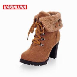 Wholesale vintage women winter snow boots - Wholesale- Plus Size 34-43 Shoes Woman Ankle Boots 2016 Vintage Lace Up Women Winter Fur Shoes High Heels Round Toe Platform Snow Boots