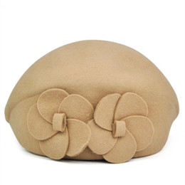 Wholesale Wool Felt Flowers Wholesale - Wholesale-IMC Women Wool Autumn Winter 2 Flowers Beret Hat Felt Hat (Beige)