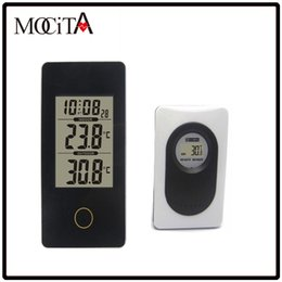 Wholesale MOCITA New Portable Wireless Weather Station Black with Indoor Outdoor Thermometer Monitor Digital Alarm Clock For Home Office