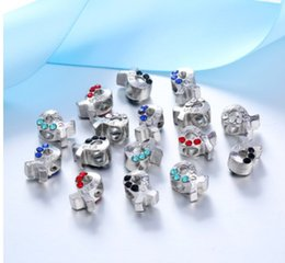 Wholesale Pandora Usa Charm - Fits Pandora Bracelets 30pcs Silver USA Ribbon Crystal Charm Bead Loose Beads For Wholesale Diy European Sterling Necklace Women