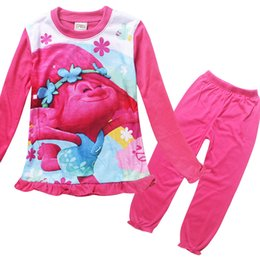Wholesale Girls Underwear Sets - Trolls Pajamas Sleepwear Suits Baby Girl Clothes Children Outfits Cartoon Long Sleeve Sleepwear Printing Kids Underwear Top+ Pants kids