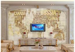 3D фото обои пользовательские настенные фрески обои английские буквы карта мира 3 D фон настенный телевизор 3d гостиная декор стен от Поставщики жить телевизор