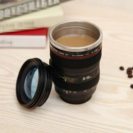Wholesale Novelty Wholesale Cameras - Creative 400ml Stainless steel liner Camera Lens Mugs Coffee Tea Cup Novelty Gifts Thermocup Thermomug