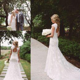 Wholesale Romantic Wedding Dresses Vintage Style - 2017 Country Style Wedding Dresses Mermaid V-Neck Backless Sweep Train Lace and Applique Romantic Bridal Gowns Dress Vestido De Noiva