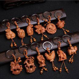 Wholesale Chinese Buddha Ring - Cute Mini Wood 12 Chinese Zodiac Keychain Keyring Key Chain Ring Holder, Wishful Lucky Buddha Pendant Car Keys Ornaments