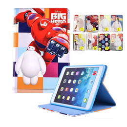 Wholesale Cartoon Smart Cover - For iPad 6 5 air 2 1 Mini 4 Cartoon Baymax Big Super PU Stand Cover Auto sleep wake OPP BAG