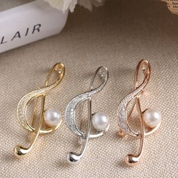 Wholesale Brooch Music - Wholesale- 2017 New 1 pc Elegant Music Note Inlay Simulated Pearl Zirconia Brooch Pin For Women girls Stainless Steel Brooch Clothing Acces