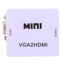 Envío gratis Mini VGA al convertidor de HDMI con audio VGA2HDMI Conector de adaptador 1080P para proyector PC portátil a HDTV con HDMI2VGA Convertidor desde fabricantes
