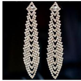 Wholesale newest earrings style - Newest full of diamond geometry tassel earrings wedding bride party nightClub tassel big love earrings two styles can choose