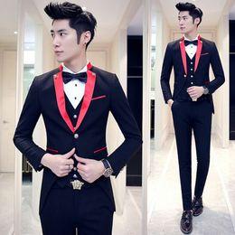 Wholesale Men Red Dress Vest - Fashion casual pure black color Single Breasted suit men casual blazer wedding dress (Jackets+Pants+vest) Red   Black   White