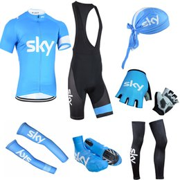 Wholesale Cycling Bib Shorts Sky - New team sky cycling jersey bibs shorts set Mtb Bicycle Clothing full set Ropa Maillot Ciclismo pro bike wear complete suit D1208