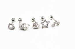 Wholesale Helix Body - LOT50pcs Korea Styles CZ Gems Ear Studs Earring Helix Diath Ring body piercing jewelry Heart Skull Diamond Shape NEW