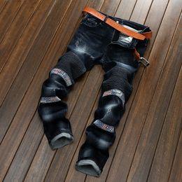 Wholesale Jeans Pant Folding - Men Locomotive Jeans Feet Pants Slim Pencil Pants Ripped Jeans Cool Elastic Distressed Folds Mens 3 Colour