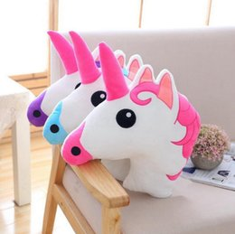 Wholesale Horse Plush Doll - Unicorn Pillow Stuffed Animal Doll 45*35CM Plush Toys Kids Toys Horse Pillow Home Office Sofa Bed Room Car Decor LJJO3136