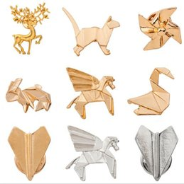 Wholesale Unique Planes - Wholesale- 2016 Unique Design Origami Cat Deer Elk Antler Horse Rabbit Plane Brooches for Women Fashion Boho Chic Origami Animal Brooches
