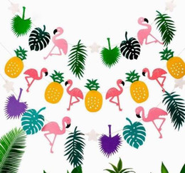 Wholesale Bunting Wholesale - Hawaiian Tropical Flamingo Pineapple Banner Felt Flag Garland Bunting Summer Party Wedding Christmas hen night baby shower Decoration