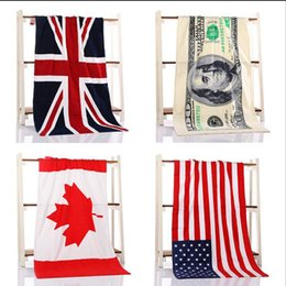 Wholesale Gym Bath Towels - 4 Color 70*140cm USA UK Flag EUROS Unisex Cotton Stripe Printed Beah Towels Bathing Towel Shower Gym Fitness Camping Towel