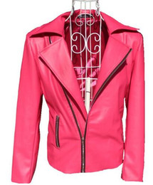 Wholesale Leather Stage Clothes - men leather jackets suits designs masculino terno stage costumes for singers men oblique zipper coat dance clothes dress punk