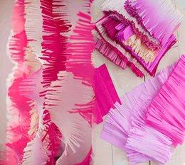 Wholesale 3m Photo Backdrop - Wholesale-3M Fringed Tissue Paper Streamers DIY Paper Fringe Curtains Tissue Paper Fringe Garland Photo Backdrop Wedding Birthday Showers