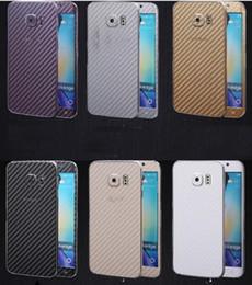 Wholesale Carbon Fiber Phone Sticker - 3D Carbon Fiber Full Body Front Back Film Sticker Case Cover Wrap Skin For Samsung Galaxy S6 edge plus S7 For Iphone 6 6S Phone Case 100pcs