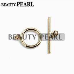 Joyería conmuta online-5 piezas ronda Toggle broche oro Vermeil 925 joyería de plata esterlina que hace cierres resultados básicos 13.5mm anillo