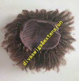 2019 mittlere braune haare brötchen Kurze hohe Afro Kinky Curly Ponytails Haarverlängerung Clip In 100% Echthaar Afro Hauchbrötchen mittlere braune Farbe # 4 Remy Hair 140g günstig mittlere braune haare brötchen